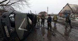 """Машина Яроша і його хлопців після обстрілу """"Градами"""""""