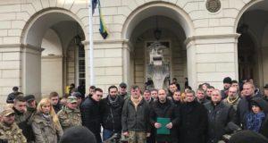 «Об'єднання добровольців» пікетувало Львівську мерію через скандальну карту